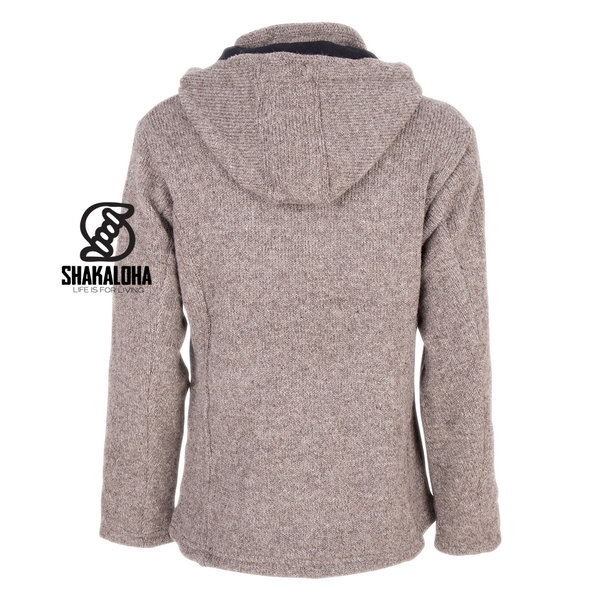 Shakaloha Shakaloha Knitted Woolen Jacket Crawford ZH Light Brown Taupe with Cotton Lining and Detachable Hood - Woman - Handmade in Nepal from sheep's wool