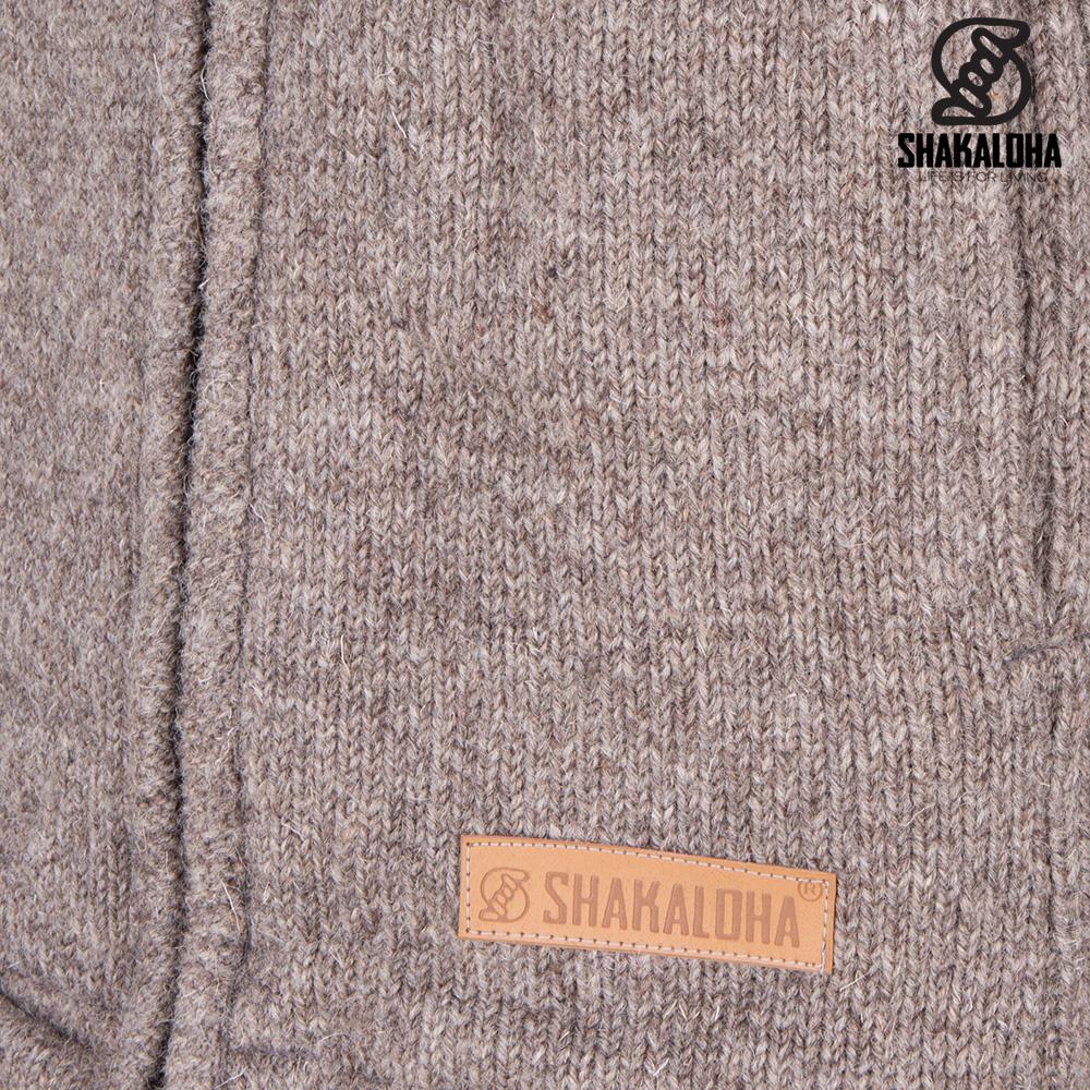 Shakaloha Shakaloha Wolljacke - Strickjacke Crawford ZH Hellbraune Taupe mit Baumwollfutter und Abnehmbarer Kapuze - Damen - Handgemacht in Nepal aus Schafwolle