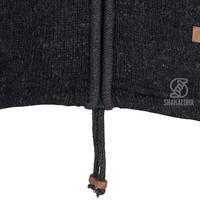 Shakaloha Shakaloha Wolljacke - Strickjacke Crawford ZH Anthrazit mit Baumwollfutter und Abnehmbarer Kapuze - Damen - Handgemacht in Nepal aus Schafwolle