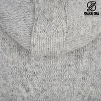 Shakaloha Shakaloha Knitted Woolen Jacket Crawford ZH Gray with Cotton Lining and Detachable Hood - Woman - Handmade in Nepal from sheep's wool