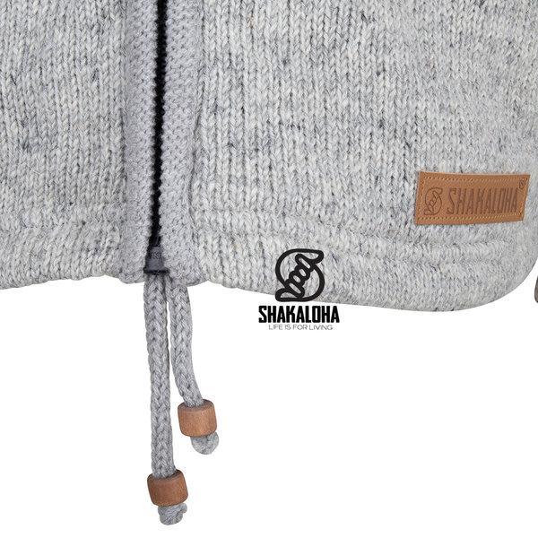 Shakaloha Shakaloha Veste en Laine Tricoté Crawford ZH gris avec Doublure en coton et Capuche détachable - Femmes - Fabriqué à la main au Népal en laine de mouton