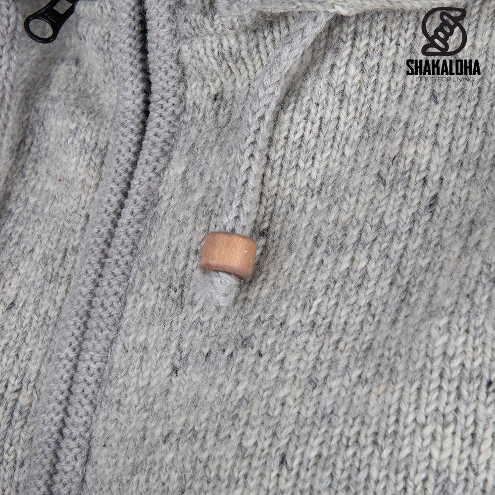 Shakaloha Shakaloha Gebreid Wollen Vest Crawford ZH Grijs met Katoenen Voering en Afneembare Capuchon - Dames - Handgemaakt in Nepal van Schapenwol