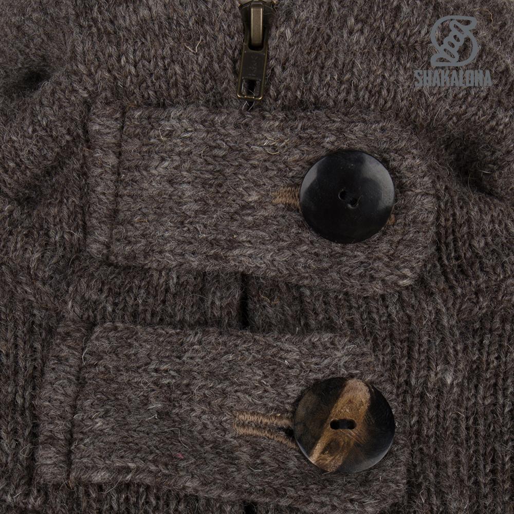 Shakaloha Shakaloha Veste en Laine Tricoté Zinnia Taupe marron clair avec Doublure en polaire et Capuche - Femmes - Fabriqué à la main au Népal en laine de mouton