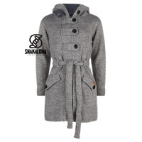 Shakaloha Shakaloha Knitted Woolen Jacket Zinnia  with Fleece Lining and Hood - Woman - Handmade in Nepal from sheep's wool