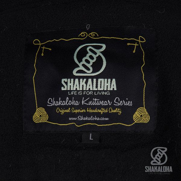 Shakaloha Shakaloha Wolljacke - Strickjacke Zinnia Anthrazit mit Fleece-Futter und Kapuze - Damen - Handgemacht in Nepal aus Schafwolle
