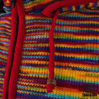 Shakaloha Shakaloha Veste en Laine Tricoté Noosa ZH Couleurs arc-en-ciel avec Doublure en coton et Capuche détachable - Femmes - Fabriqué à la main au Népal en laine de mouton