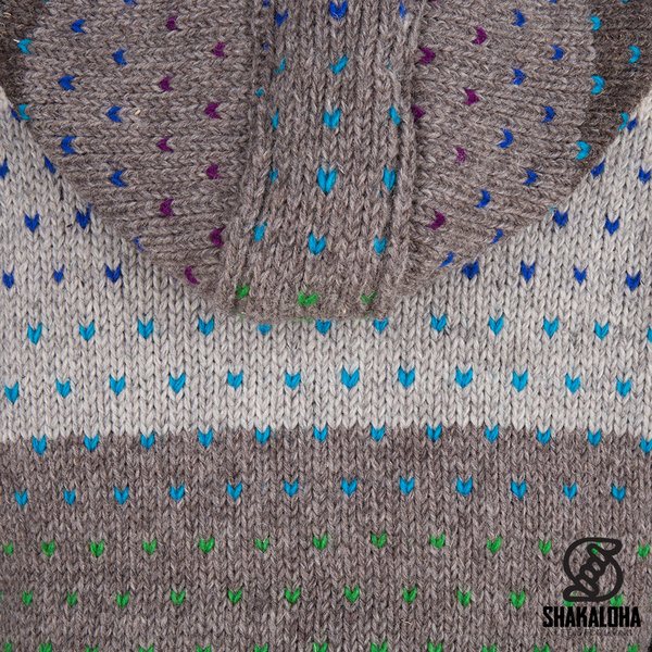 Shakaloha Shakaloha Knitted Woolen Jacket Riddle ZH Natural colors with Fleece Lining and Detachable Hood - Woman - Handmade in Nepal from sheep's wool
