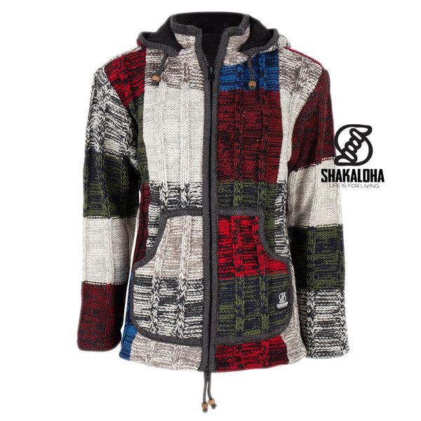 Shakaloha Shakaloha Wolljacke - Strickjacke Rib Patch ZH Mehrfarbiges Fell mit Fleece-Futter und Abnehmbarer Kapuze - Damen - Handgemacht in Nepal aus Schafwolle