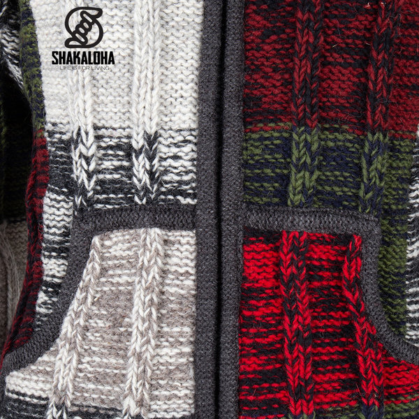 Shakaloha Shakaloha Veste en Laine Tricoté Rib Patch ZH Multicolore avec Doublure en polaire et Capuche détachable - Femmes - Fabriqué à la main au Népal en laine de mouton