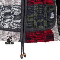 Shakaloha Shakaloha Knitted Woolen Jacket Rib Patch ZH Multi-colored with Fleece Lining and Detachable Hood - Woman - Handmade in Nepal from sheep's wool