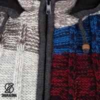Shakaloha Shakaloha Gebreid Wollen Vest Rib Patch ZH Meerkleurig Bont met Fleece Voering en Afneembare Capuchon - Dames - Handgemaakt in Nepal van Schapenwol