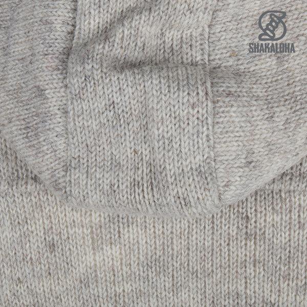 Shakaloha Shakaloha Wolljacke - Strickjacke Zinnia Beige Creme mit Fleece-Futter und Kapuze - Damen - Handgemacht in Nepal aus Schafwolle