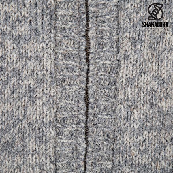 Shakaloha Shakaloha Veste en Laine Tricoté Chamonix Beige Gris clair avec Doublure en Peluche et Capuche - Hommes - Uni - Fabriqué à la main au Népal en laine de mouton