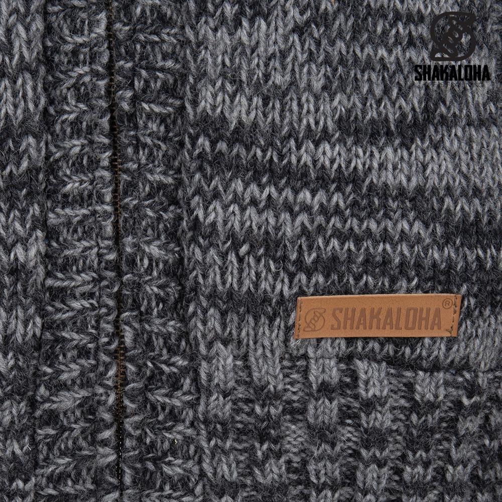 Shakaloha Shakaloha Gebreid Wollen Vest Chamonix  met Teddy Fleece Voering en Capuchon - Man/Uni - Handgemaakt in Nepal van Schapenwol