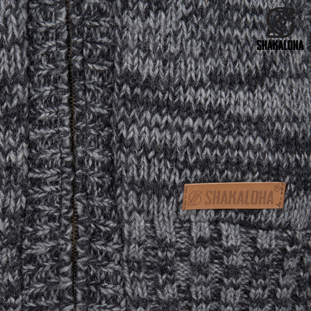 Shakaloha Shakaloha Wolljacke - Strickjacke Chamonix Antrazitgrau mit Teddy Futter und Kapuze - Herren - Uni - Handgemacht in Nepal aus Schafwolle