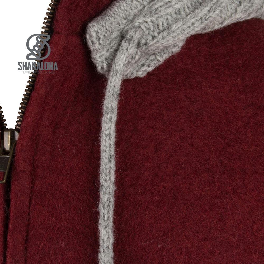 Shakaloha Shakaloha Veste en Laine Tricoté Baseball ZH Vin rouge Bourgogne avec Doublure en coton et Capuche détachable - Hommes - Uni - Fabriqué à la main au Népal en laine de mouton