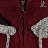 Shakaloha Shakaloha Knitted Woolen Jacket Baseball ZH  with Cotton Lining and Detachable Hood - Men - Unisex - Handmade in Nepal from sheep's wool