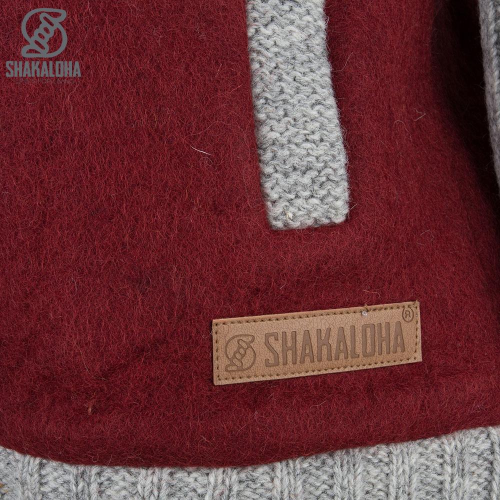 Shakaloha Shakaloha Wolljacke - Strickjacke Baseball ZH Weinrot Burgund mit Baumwollfutter und Abnehmbarer Kapuze - Herren - Uni - Handgemacht in Nepal aus Schafwolle