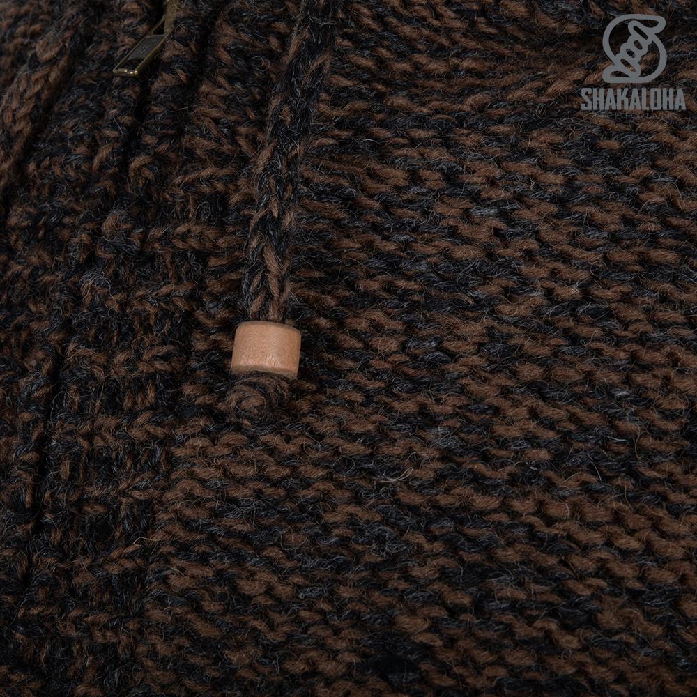 Shakaloha Shakaloha Veste en Laine Tricoté Chamonix Brun foncé anthracite avec Doublure en Peluche et Capuche - Hommes - Uni - Fabriqué à la main au Népal en laine de mouton