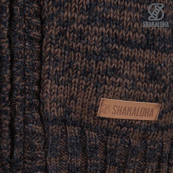 Shakaloha Shakaloha Wolljacke - Strickjacke Chamonix Anthrazit Dunkelbraun mit Teddy Futter und Kapuze - Herren - Uni - Handgemacht in Nepal aus Schafwolle