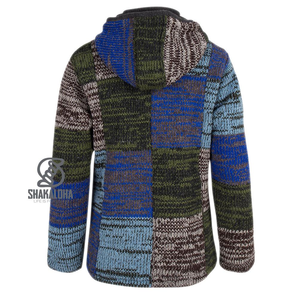 Shakaloha Shakaloha Veste en Laine Tricoté Patch ZH Gris Bleu Clair Vert avec Doublure en polaire et Capuche détachable - Femmes - Fabriqué à la main au Népal en laine de mouton