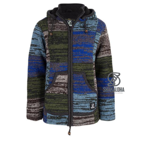 Shakaloha Shakaloha Wolljacke - Strickjacke Patch ZH Grau Hellblau Grün mit Fleece-Futter und Abnehmbarer Kapuze - Damen - Handgemacht in Nepal aus Schafwolle