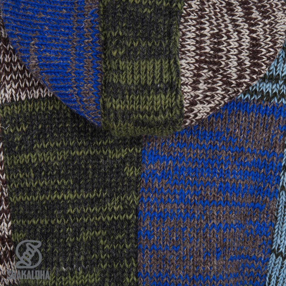Shakaloha Shakaloha Gebreid Wollen Vest Patch ZH Grijs Licht Blauw Groen met Fleece Voering en Afneembare Capuchon - Dames - Handgemaakt in Nepal van Schapenwol