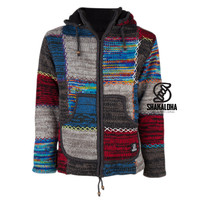 Shakaloha Shakaloha Knitted Woolen Jacket Patch ZH  with Fleece Lining and Detachable Hood - Woman - Handmade in Nepal from sheep's wool