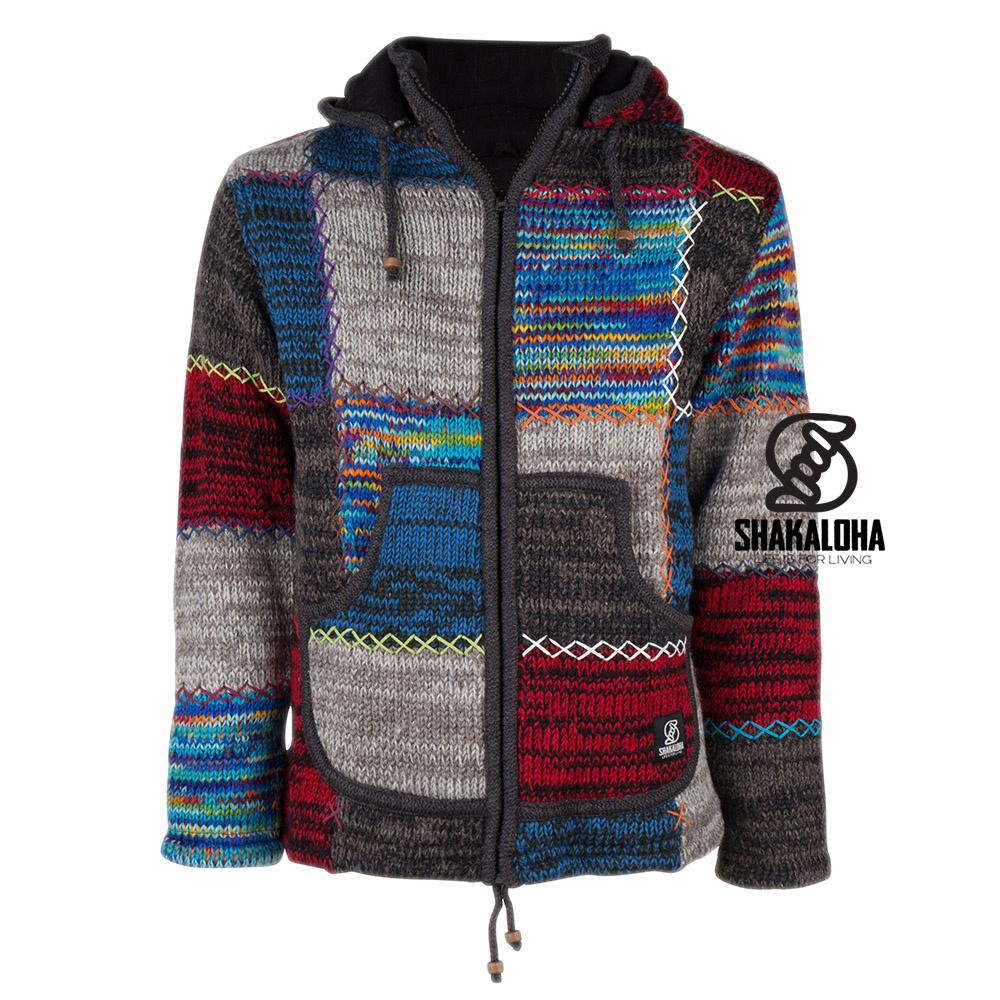 Shakaloha Shakaloha Veste en Laine Tricoté Patch ZH Couleurs arc-en-ciel avec Doublure en polaire et Capuche détachable - Femmes - Fabriqué à la main au Népal en laine de mouton