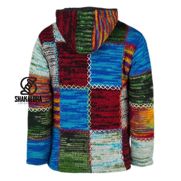 Shakaloha Shakaloha Wolljacke - Strickjacke Patch ZH Mehrfarbiges Fell mit Fleece-Futter und Abnehmbarer Kapuze - Damen - Handgemacht in Nepal aus Schafwolle