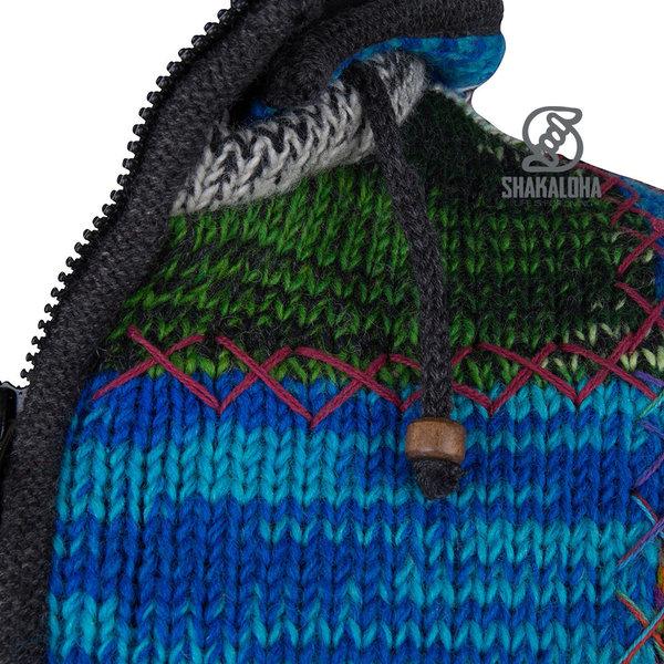 Shakaloha Shakaloha Gebreid Wollen Vest Patch ZH  met Fleece Voering en Afneembare Capuchon - Dames - Handgemaakt in Nepal van Schapenwol