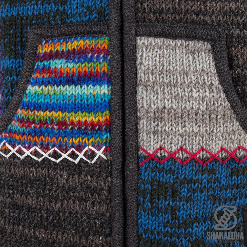 Shakaloha Shakaloha Veste en Laine Tricoté Patch ZH Feuille panachée avec Doublure en polaire et Capuche détachable - Femmes - Fabriqué à la main au Népal en laine de mouton