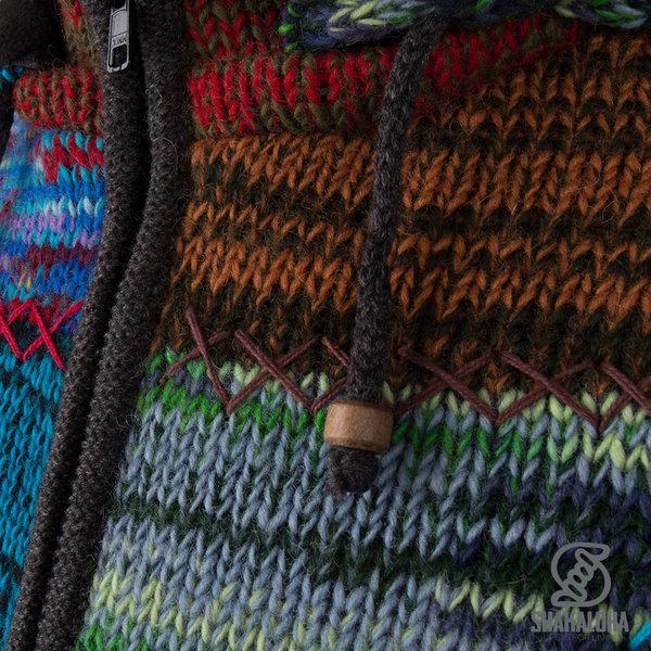 Shakaloha Shakaloha Wolljacke - Strickjacke Patch ZH Blatt bunt mit Fleece-Futter und Abnehmbarer Kapuze - Damen - Handgemacht in Nepal aus Schafwolle
