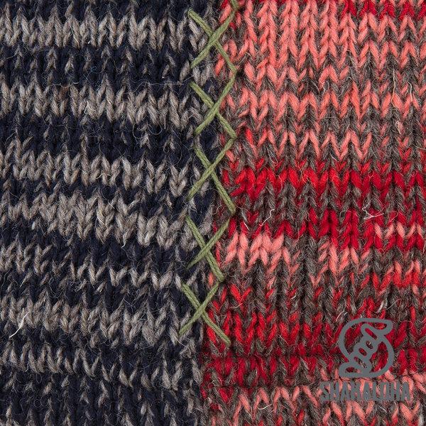 Shakaloha Shakaloha Wolljacke - Strickjacke Patch ZH Wildes mehrfarbiges Fell mit Fleece-Futter und Abnehmbarer Kapuze - Damen - Handgemacht in Nepal aus Schafwolle