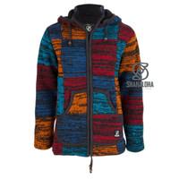 Shakaloha Shakaloha Wolljacke - Strickjacke Patch ZH Rot Blau Rostfarbe mit Fleece-Futter und Abnehmbarer Kapuze - Damen - Handgemacht in Nepal aus Schafwolle