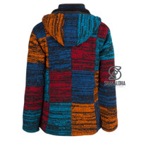 Shakaloha Shakaloha Knitted Woolen Jacket Patch ZH Red Blue Rust color with Fleece Lining and Detachable Hood - Woman - Handmade in Nepal from sheep's wool