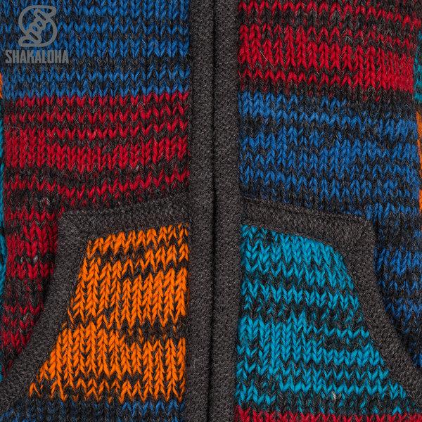 Shakaloha Shakaloha Gebreid Wollen Vest Patch ZH Rood Blauw Roestkleur met Fleece Voering en Afneembare Capuchon - Dames - Handgemaakt in Nepal van Schapenwol