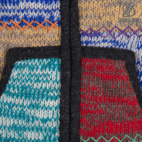 Shakaloha Shakaloha Veste en Laine Tricoté Patch ZH Multicolore délavé avec Doublure en polaire et Capuche détachable - Femmes - Fabriqué à la main au Népal en laine de mouton