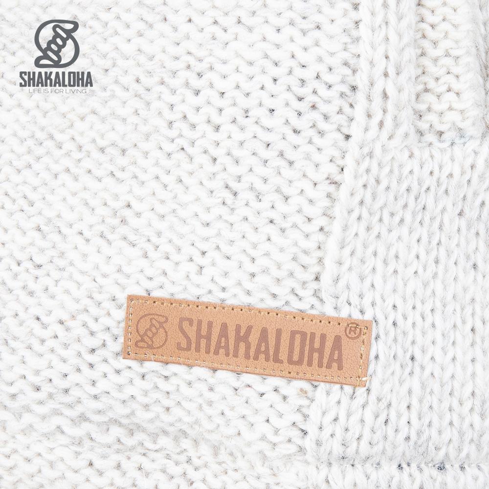 Shakaloha Shakaloha Veste en Laine Tricoté Blaster ZH Crème beige avec Doublure en polaire et Capuche détachable - Hommes - Uni - Fabriqué à la main au Népal en laine de mouton