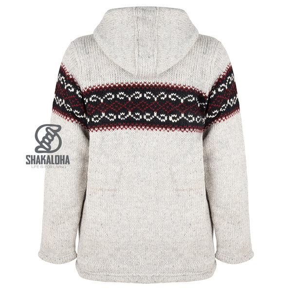 Kaufen Sie hier eine graue Wolljacke von Shakaloha mit einem roten norwegischen Aufdruck.