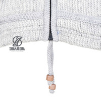 Shakaloha Shakaloha Gebreid Wollen Vest Flaka Hood Grijs met Fleece Voering en Capuchon met Binnenkraag - Man/Uni - Handgemaakt in Nepal van Schapenwol