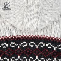 Shakaloha Shakaloha Knitted Woolen Jacket Flaka Hood Gray with Fleece Lining and Hood with inner collar - Men - Unisex - Handmade in Nepal from sheep's wool