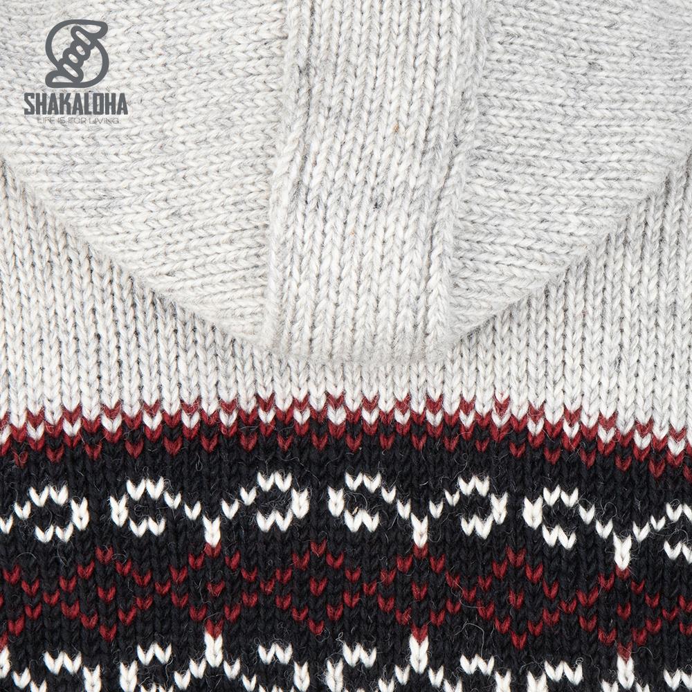 Shakaloha Shakaloha Veste en Laine Tricoté Flaka Hood gris avec Doublure en polaire et Capuche avec col intérieur - Hommes - Uni - Fabriqué à la main au Népal en laine de mouton
