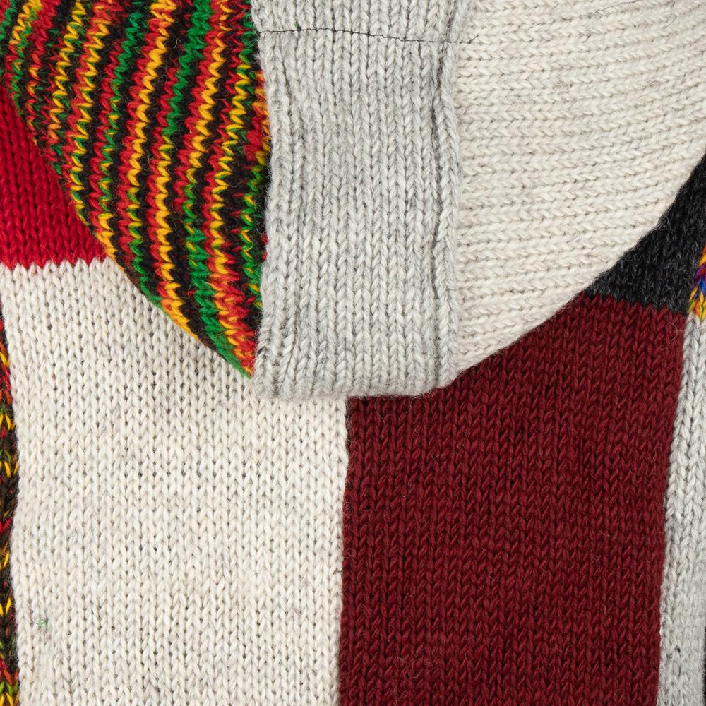 Shakaloha Shakaloha Wolljacke - Strickjacke Patch NH Mehrfarbiges Fell mit Fleece-Futter und Kapuze mit Innenkragen - Herren - Uni - Handgemacht in Nepal aus Schafwolle