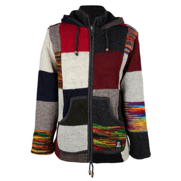 Shakaloha Shakaloha Gebreid Wollen Vest Patch NH Meerkleurig Bont met Fleece Voering en Capuchon met Binnenkraag - Man/Uni - Handgemaakt in Nepal van Schapenwol