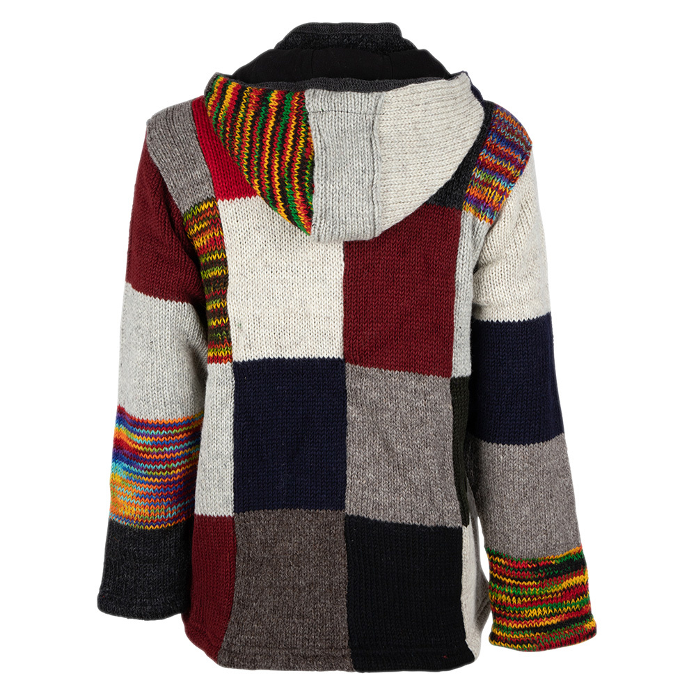 Shakaloha Shakaloha Knitted Woolen Jacket Patch NH Multi-colored with Fleece Lining and Hood with inner collar - Men - Unisex - Handmade in Nepal from sheep's wool