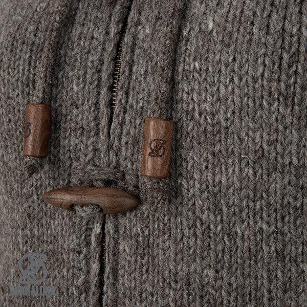 Shakaloha Shakaloha Wolljacke - Strickjacke Woodcord DLX Hellbraune Taupe mit Fleece-Futter und Abnehmbarer Kapuze - Damen - Handgemacht in Nepal aus Schafwolle