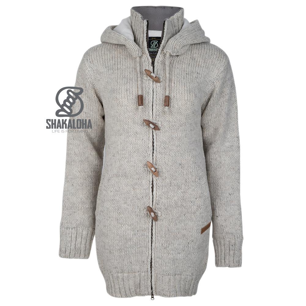Shakaloha Shakaloha Gebreid Wollen Vest Woodcord DLX  met Fleece Voering en Afneembare Capuchon - Dames - Handgemaakt in Nepal van Schapenwol