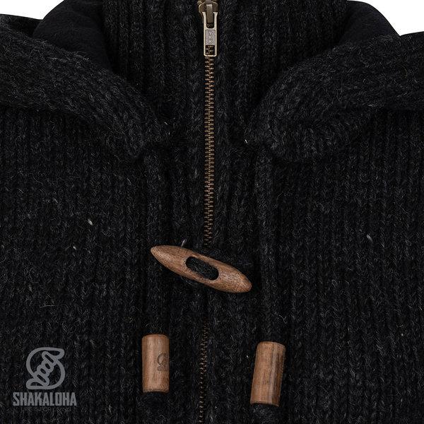 Shakaloha Shakaloha Wolljacke - Strickjacke Woodcord DLX Anthrazit mit Fleece-Futter und Abnehmbarer Kapuze - Damen - Handgemacht in Nepal aus Schafwolle
