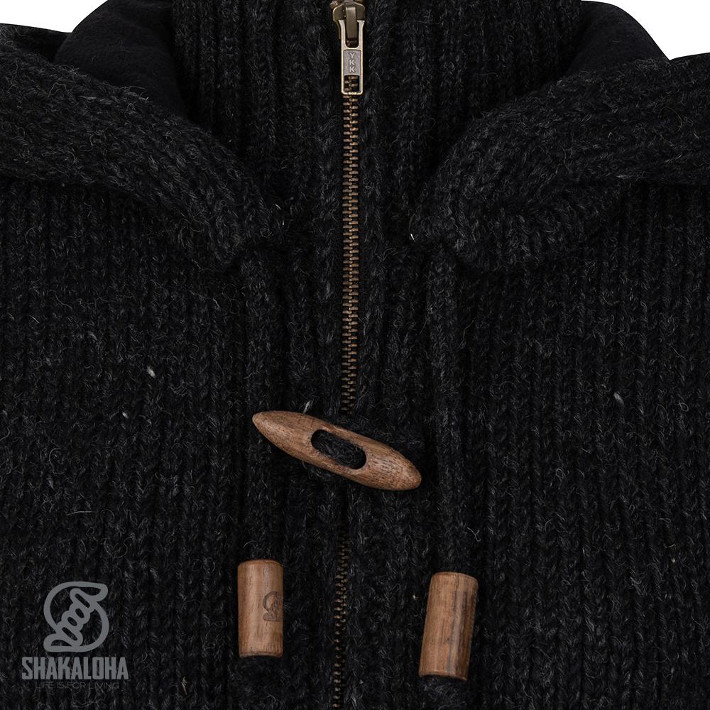 Shakaloha Shakaloha Veste en Laine Tricoté Woodcord DLX Anthracite avec Doublure en polaire et Capuche détachable - Femmes - Fabriqué à la main au Népal en laine de mouton